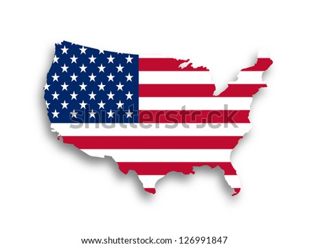 United states map with the flag inside - stock photo