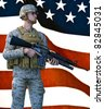 United States Marine dressed in camouflage combat gear holding a gun. Standing at ready before a United States of America flag. Original illustration - stock photo