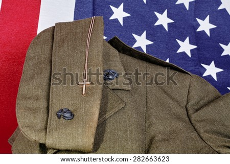 United States Military American Faith Pendant and American Flag - stock photo