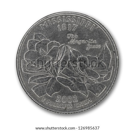 United States Mississippi quarter dollar coin on white with path outline - stock photo