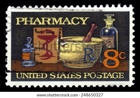 UNITED STATES OF AMERICA - 1972: A stamp printed in the United States of America shows image of typical items in a pharmacy, mortar and pestle, bowl of Hygeia, 19th century medicine, series, 1972 - stock photo