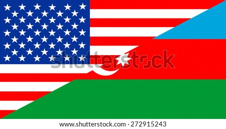 united states of america and azerbaijan half country flag - stock photo