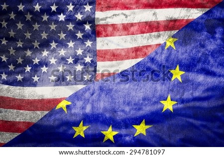 United States of America and European Union mixed flag. United States of America and European Union flag overlaid with grunge texture. - stock photo