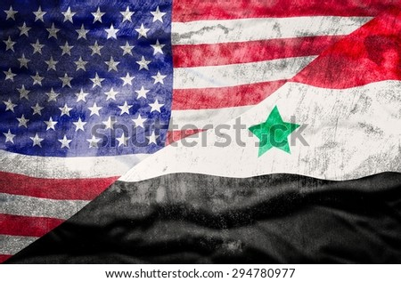 United States of America and Syria mixed flag. United States of America and Syria flag overlaid with grunge texture. - stock photo