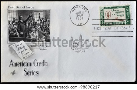 UNITED STATES OF AMERICA - CIRCA 1960 : A postcard printed in the USA shows Credo, Give me liberty or give me death,circa 1960 - stock photo