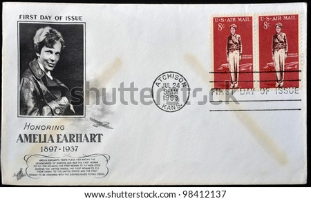UNITED STATES OF AMERICA - CIRCA 1963: A postcard printed in USA shows Amelia Earhart, circa 1963 . - stock photo