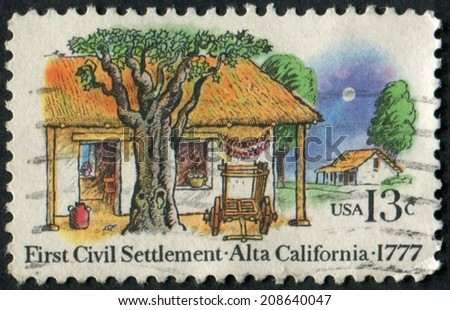 United States of America-Circa 1977: a stamp issued to commemorate the 200th anniversary of the First Civil Settlement in Alta, California. - stock photo