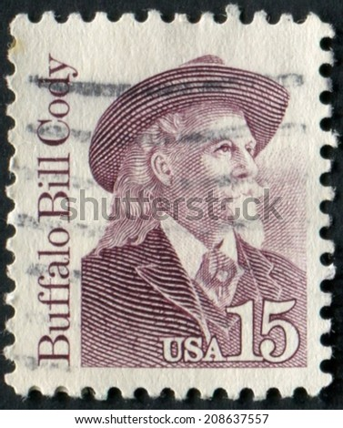 United States of America-Circa 1988: a stamp issued to honor legendary American Buffalo Bill Cody. - stock photo
