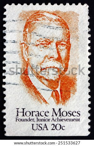 UNITED STATES OF AMERICA - CIRCA 1984: a stamp printed in the United States of America shows Horace Augustus Moses, Prominent Industrialist and Junior Achievement Founder, circa 1984 - stock photo
