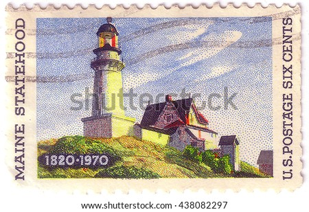 UNITED STATES OF AMERICA - CIRCA 1970: A stamp printed in the United States of America shows image celebrating the 150th anniversary of Maine's accession to the Union, series, circa 1970 - stock photo