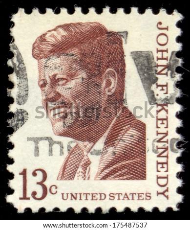 UNITED STATES OF AMERICA - CIRCA 1967: a stamp printed in the United States of America shows John F. Kennedy, 35th President of USA 1961-1963, circa 1967 - stock photo