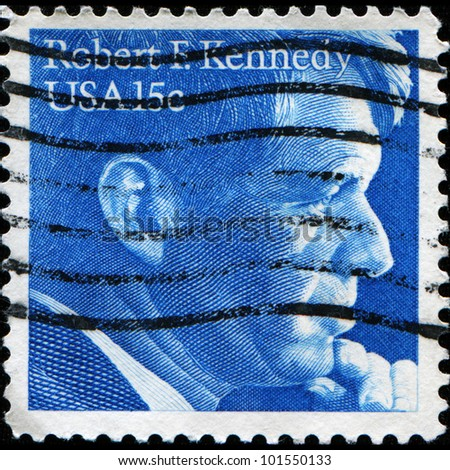 UNITED STATES OF AMERICA - CIRCA 1979: a stamp printed in the United States of America shows Robert Fitzgerald Kennedy U.S. Attorney General, circa 1979 - stock photo