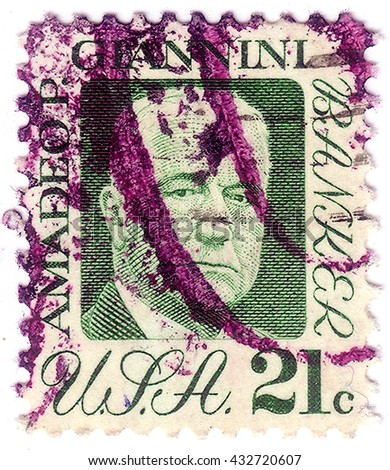 UNITED STATES OF AMERICA - CIRCA 1973: a stamp printed in the USA shows Amadeo P. Giannini, founder of Bank of America, circa 1973 - stock photo