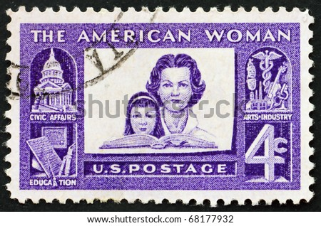 UNITED STATES OF AMERICA - CIRCA 1960: a stamp printed in the USA shows Mother and daughter - A tribute to accomplishments of american women in civic affairs, education, arts and industry, circa 1960 - stock photo