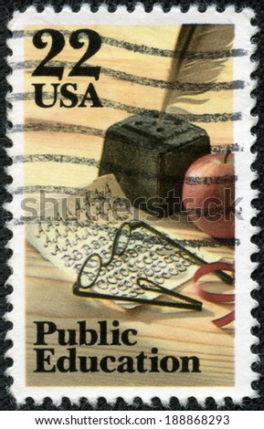 UNITED STATES OF AMERICA - CIRCA 1982: a stamp printed in the USA shows Quill Pen, Apple, Spectacles and Penmanship Quiz, Public Education, circa 1982 - stock photo