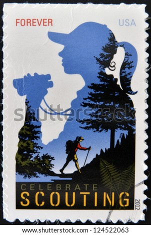 UNITED STATES OF AMERICA - CIRCA 2012: A stamp printed in USA dedicated to celebrate scouting, circa 2012 - stock photo