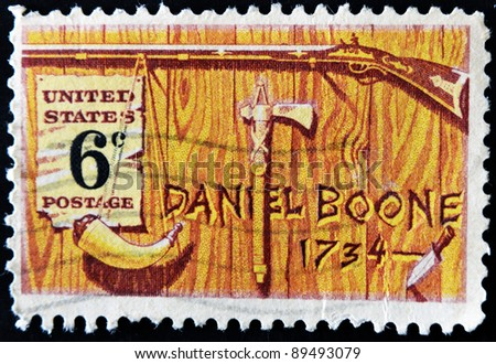 UNITED STATES OF AMERICA - CIRCA 1968: A stamp printed in USA honoring Daniel Boone a frontiersman and trapper, circa 1968 - stock photo