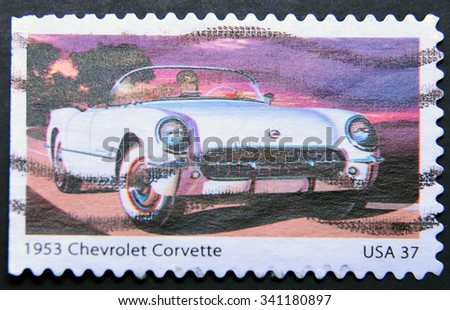 UNITED STATES OF AMERICA - CIRCA 2013: a stamp printed in USA showing an image of a 1953 Chevrolet Corvette car, circa 2013.  - stock photo