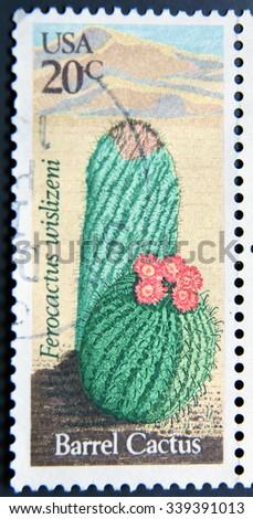UNITED STATES OF AMERICA - CIRCA 1981: A stamp printed in USA shows Barrel Cactus (Ferocactus, Wislizeni), circa 1981 - stock photo