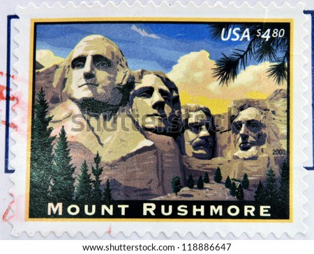 UNITED STATES OF AMERICA - CIRCA 2008: A stamp printed in USA shows image of the Mount Rushmore National Memorial, circa 2008 - stock photo