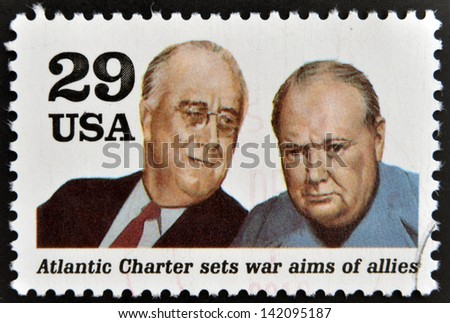 UNITED STATES OF AMERICA - CIRCA 1995: a stamp printed in USA shows president Franklin D. Roosevelt and sir Winston Churchill in the Second World War, circa 1995. - stock photo