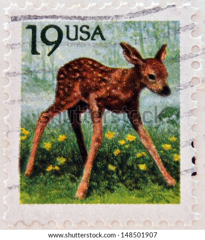 UNITED STATES OF AMERICA - CIRCA 1991: A stamp printed in USA shows Roe Deer (Capreolus capreolus), circa 1991  - stock photo