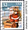 UNITED STATES OF AMERICA - CIRCA 1995: A stamp printed in USA shows Santa Claus, circa 1995 - stock photo