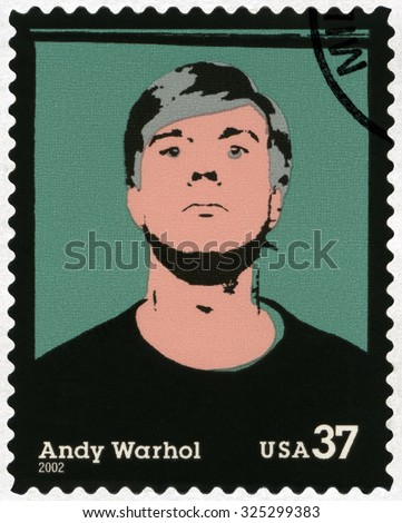 UNITED STATES OF AMERICA - CIRCA 2002: A stamp printed in USA shows Self-Portrait, Andy Warhol (1928-1987), artist, circa 2002 - stock photo
