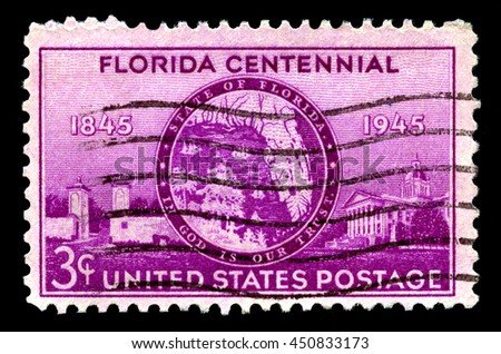 UNITED STATES OF AMERICA - CIRCA 1945: A used postage stamp from the United States of America, celebrating the Florida Centennial, circa 1945. - stock photo