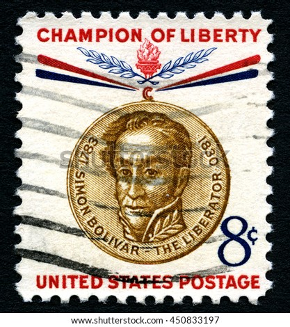 UNITED STATES OF AMERICA - CIRCA 1960: A used postage stamp from the United States of America, celebrating the memory of Simon Bolivar - a Champion of Liberty, circa 1960. - stock photo