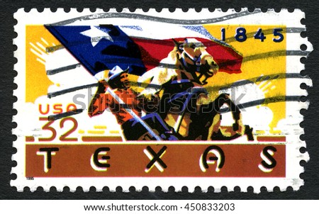UNITED STATES OF AMERICA - CIRCA 1995: A used postage stamp from the United States of America, celebrating the 150th Anniversary of Texas statehood, circa 1995. - stock photo