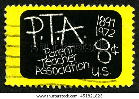 UNITED STATES OF AMERICA - CIRCA 1972: A used postage stamp from the USA celebrating the 75th Anniversary of the Parent Teacher Association, circa 1972. - stock photo