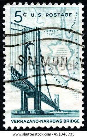 UNITED STATES OF AMERICA - CIRCA 1964: A used postage stamp from the USA depicting an illustration of the Verrazano Narrows Bridge in New York, circa 1964. - stock photo