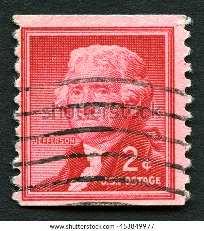 UNITED STATES OF AMERICA - CIRCA 1954: A used postage stamp from the USA, depicting an illustration of third President of the United States Thomas Jefferson, circa 1954. - stock photo