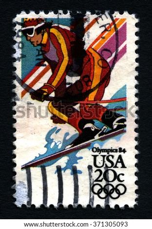 UNITED STATES OF AMERICA - CIRCA 1984: A used postage stamp printed in America, dedicated to the 1984 Olympic Games, circa 1984. - stock photo