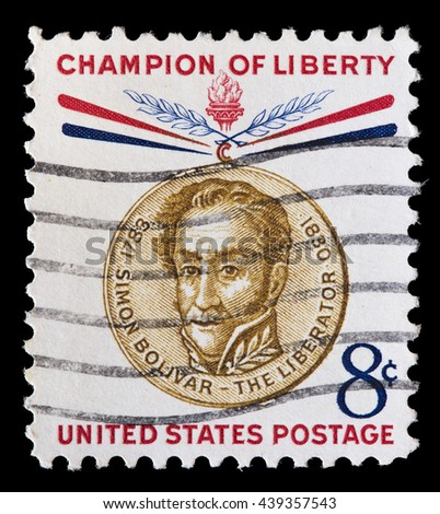 UNITED STATES OF AMERICA - CIRCA 1959: A used postage stamp printed in United States shows a portrait of the Venezuelan military leader Simon Bolivar, series of Freedom Fighters Champions, circa 1959 - stock photo