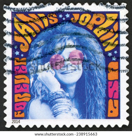 UNITED STATES OF AMERICA - CIRCA 2014: forever stamp printed in USA (US) shows music icon Janis Joplin; psychedelic soul; singer; Woodstock festival; Rock & Roll hall of fame; Scott 4916, circa 2014 - stock photo