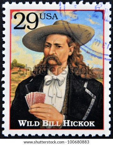 UNITED STATES OF AMERICA - CIRCA 1994 : Stamp printed in the USA with portrait Wild Bill HickoK, gunfighter, scout, lawman, circa 1994 - stock photo