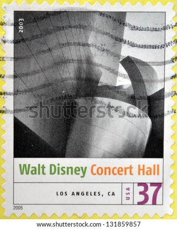 UNITED STATES OF AMERICA - CIRCA 2005: stamp printed in USA shows the image of Walt Disney Concert Hall (Los Angeles, CA). Modern American Architecture, circa 2005 - stock photo