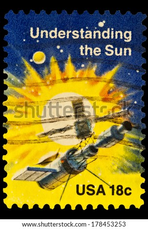 UNITED STATES OF AMERICA - CIRCA 2014: stamp printed in USA shows understanding the sun, USA 18c, circa 2014 - stock photo