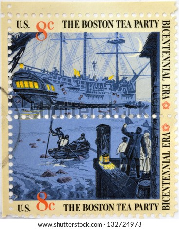 UNITED STATES OF AMERICA - CIRCA 1976: stamp printed in USA to commemorate the Boston Tea Party as part of the Bicentennial celebration in the United States, circa 1976 - stock photo