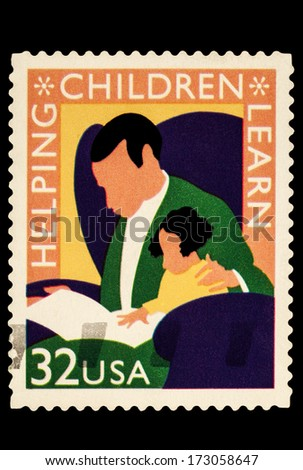 UNITED STATES OF AMERICA - CIRCA 2014: stamps printed in USA shows the image of Helping Children Learn, USA 32c, circa 2014 - stock photo