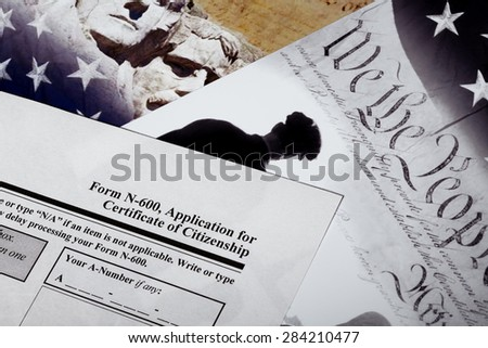United States of America citizenship immigration naturalization application process with Public Documents for education. - stock photo