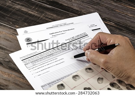 United States of America citizenship immigration naturalization application process With Public Documents for education. Studio prop ID documents. - stock photo