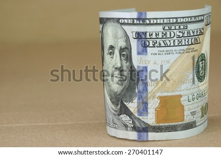 United States Of America Currency One Hundred Dollar Bill, Franklin and 4th July, 1776 - Close-up, Background With Copy Space - stock photo
