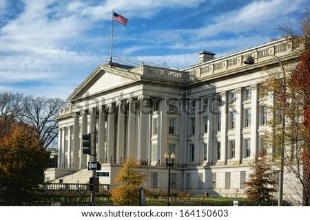 United States of America Department of the Treasury building national historic landmark on Pennsylvania Avenue in the US capital of Washington DC   - stock photo