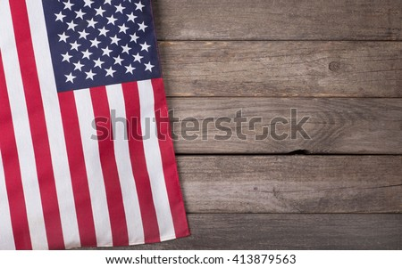 United States of America flag on a wooden background - stock photo