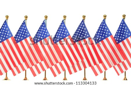 United States of America flags hanging on the gold flagpole,Isolated on the white background - stock photo