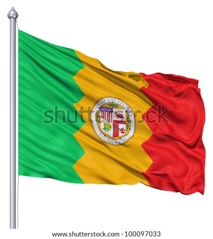 United States of America Los Angeles city flag fluttering in the wind - stock photo