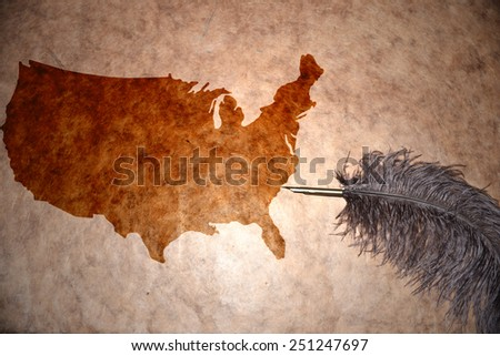 United States Of America map on vintage paper with old pen - stock photo